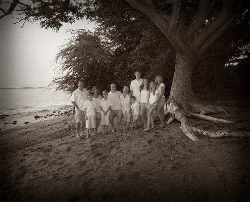 1+1 = 6; a large family of 11 under a tree by the shoreline at a Maui beach