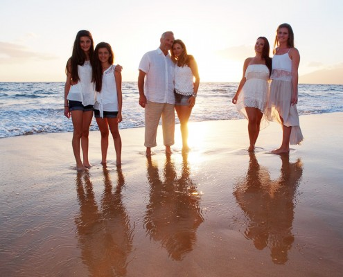 Maui family portrait on beach at sunset