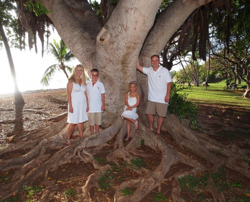 Family of Four at Launiupoko Beach Park, Maui, Hawaii