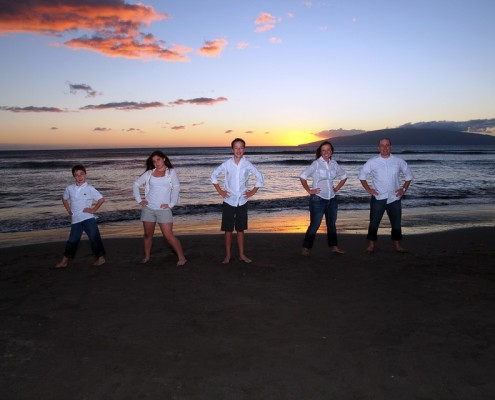 pictures of a family on a Maui beach at sunset
