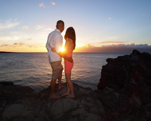 Engagement photogaphy at DT Fleming Beach Park, Maui, Hawaii