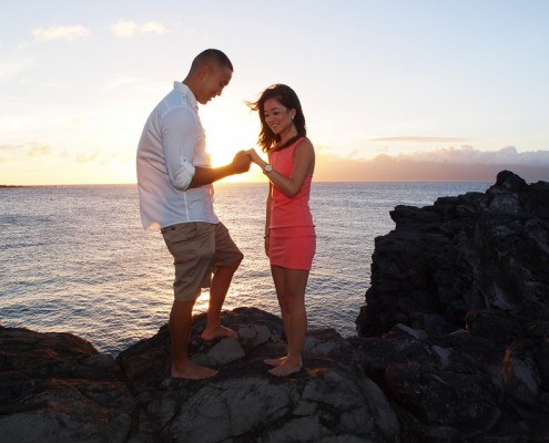 Maui Marriage Proposal Photography - Engagement at DT Fleming Beach, Maui, Hawaii