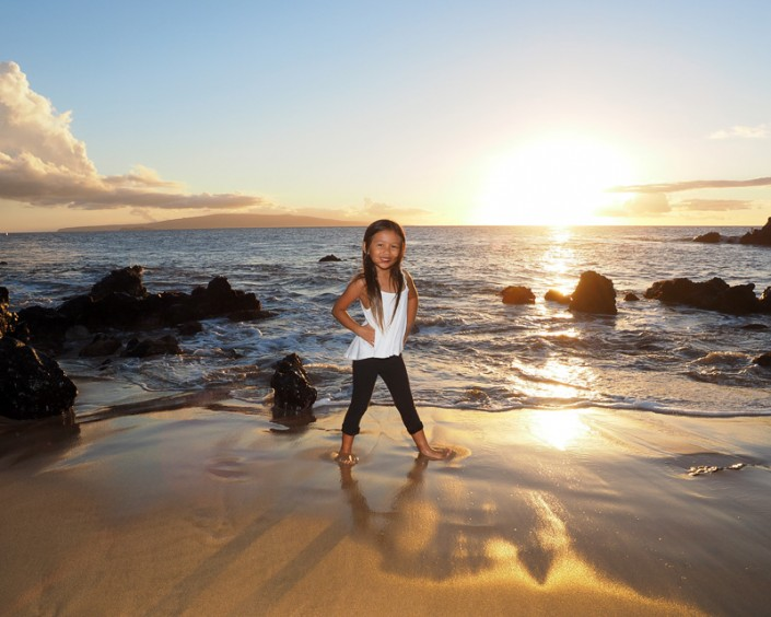 Child on Maui Beach at Sunset
