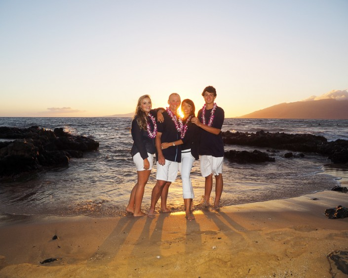 family beach portrait at sunset