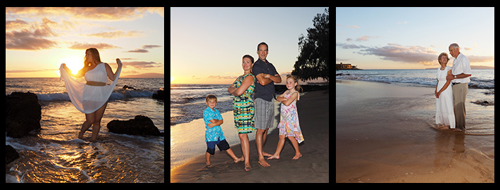 individual portrait photography, family beach portraits and couples, a tryptich image