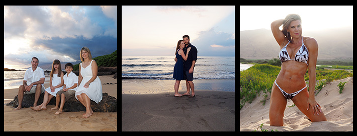 couples & weddings photography on Maui, family portraits, a tryptich image
