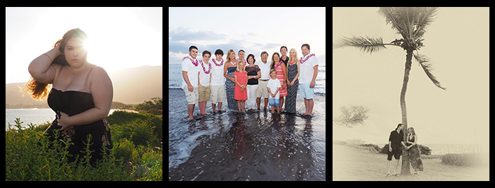 A striking tryptich image of individual, family and couples portrait photography on Maui