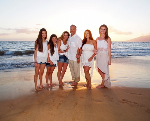 Family at Maui beach at sunset