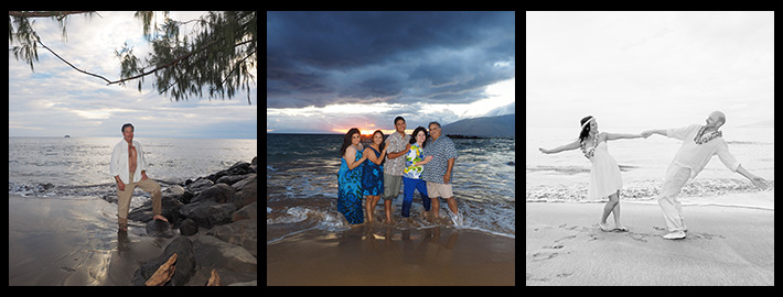 a tryptich of images showcasing family, couples and individual portraits at Maui Island Portraits