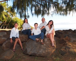 photo of family at Launiupoko Beach Park under Ironwood Tree
