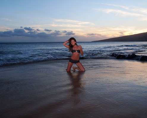 Eleya Maureen at Kealia Beach at Sunset