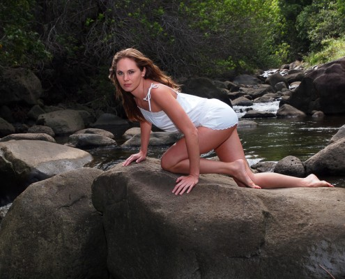 Model Photography at Iao Stream, Maui, Hawaii