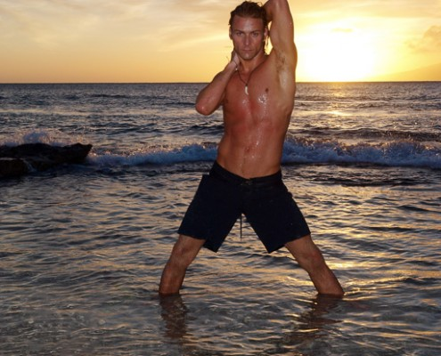 Male Posing on Beach at Sunset at Honokowai Park, Maui, Hawaii