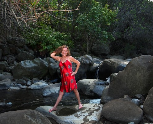 Lady In A Red Dress at Iao Stream, Maui, Hawaii