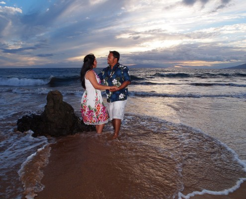 Couple at Polo Beach at Sunset, Maui, Hawaii