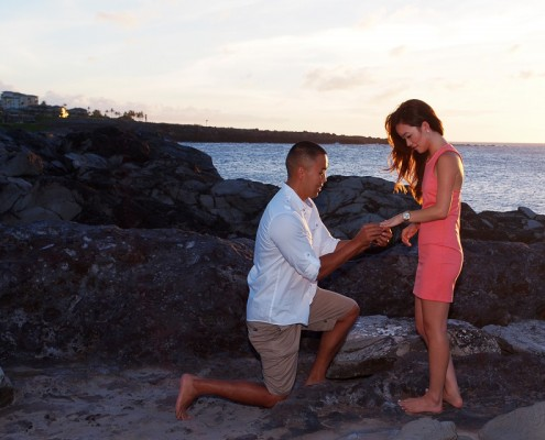 Proposal at DT Fleming Beach Park, Kapalua, Maui, Hawaii