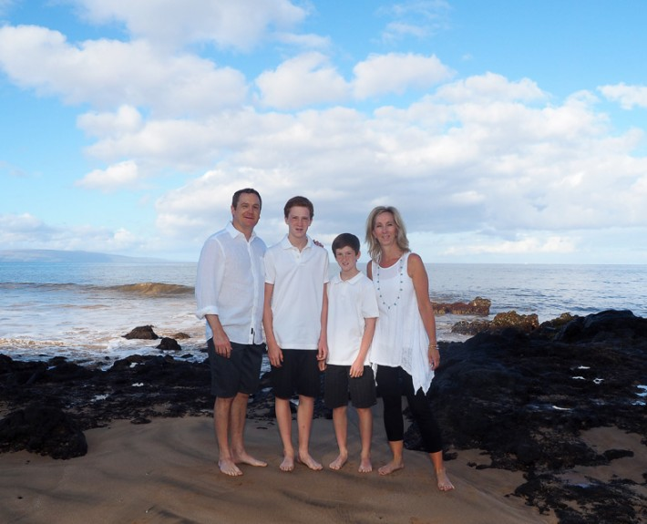 family of 4 from Canada on Maui beach