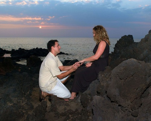 A man proposes marriage to a woman on Maui