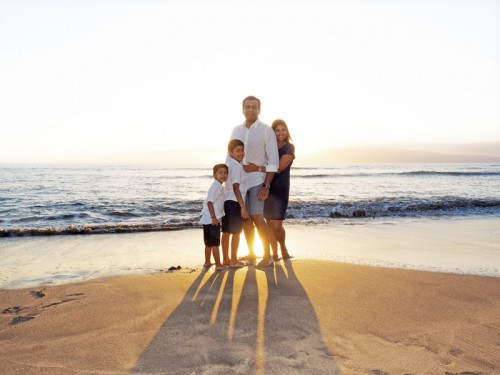 family portrait in strong natural backlight