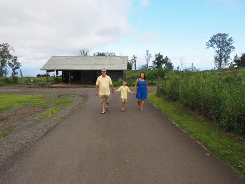A family of 3 walks along a road in upcountry Maui