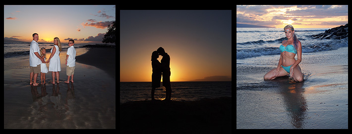 Romantic couples photography and elegant family photography samples from Maui Island Portraits