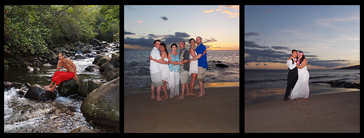 Maui Island Portraits tryptich showcasing individual, couples and family portrait photography