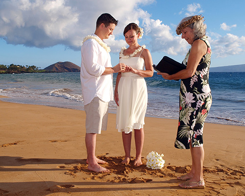 a Maui beach wedding on a sunny afternoon
