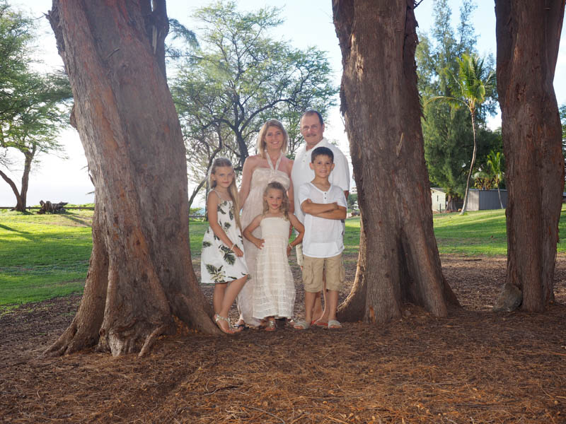 A family portrait by the ironwood trees, Kamaole III Beach Park, Maui, Hawaii