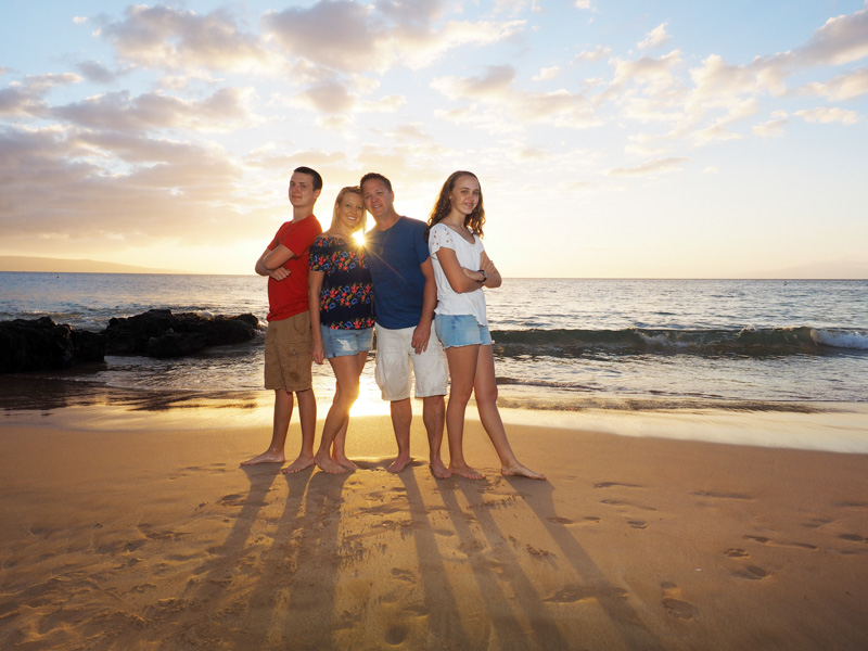 Happy Family Sunset Portraits on Maui